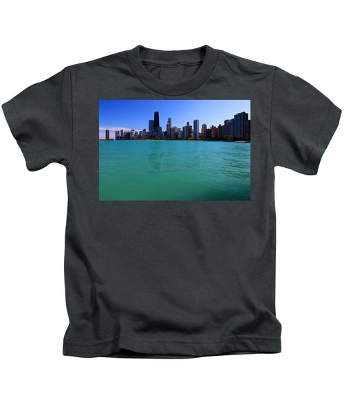 Chicago Skyline Teal Water Kids T-Shirt