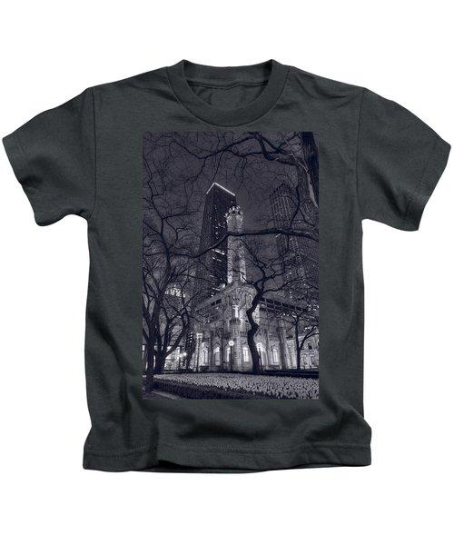 Chicago Water Tower Dusk B W Kids T-Shirt