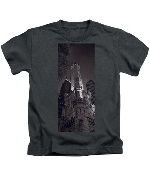 Chicago Water Tower Panorama B W Kids T-Shirt