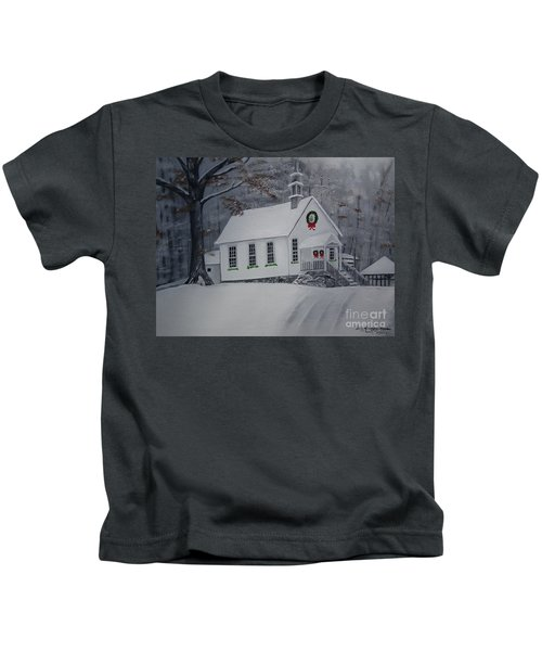 Christmas Card - Snow - Gates Chapel Kids T-Shirt