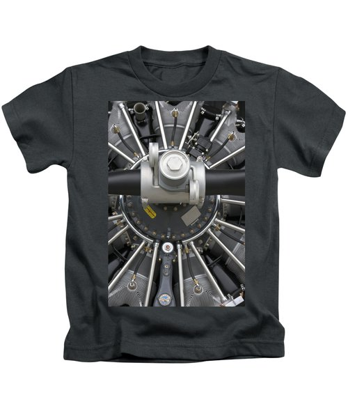 Close Up Of Radial Airplane Engine Kids T-Shirt