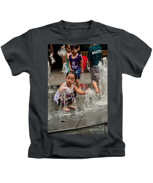 Clothed Children Play At Water Fountain Kids T-Shirt