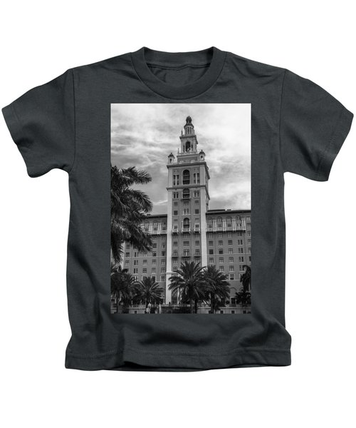 Coral Gables Biltmore Hotel In Black And White Kids T-Shirt