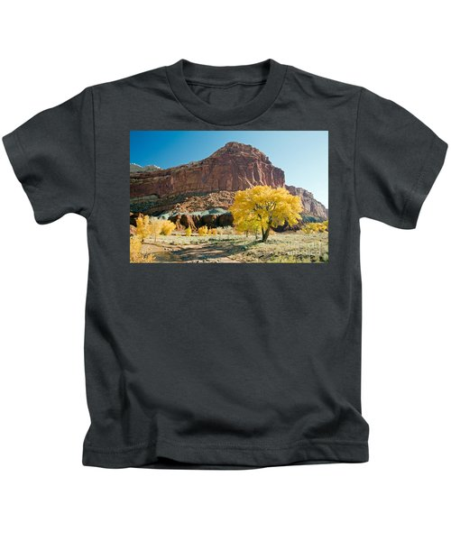Cottonwoods In Fall The Castlecapitol Reef National Park Kids T-Shirt