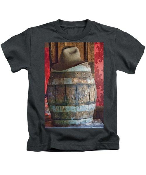Cowboy Hat On Old Wooden Keg Kids T-Shirt