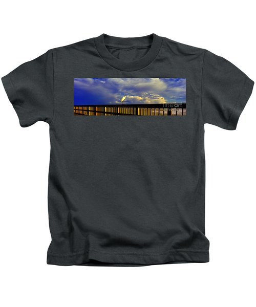 Daytona Beach Rail Bird Sun Glow Pier  Kids T-Shirt