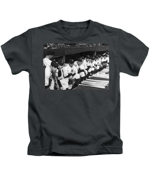 Dimaggio In Yankee Dugout Kids T-Shirt by Underwood Archives
