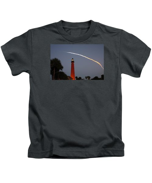 Discovery Booster Separation Over Ponce Inlet Lighthouse Kids T-Shirt