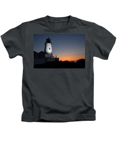 Dramatic Lighthouse Sunrise Kids T-Shirt