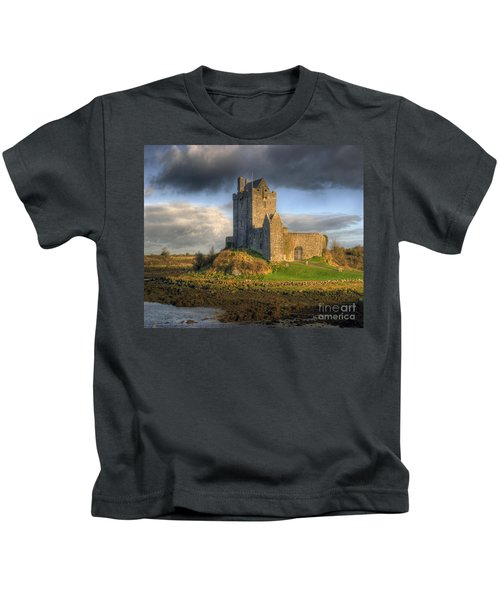 Dunguaire Castle With Dramatic Sky Kinvara Galway Ireland Kids T-Shirt
