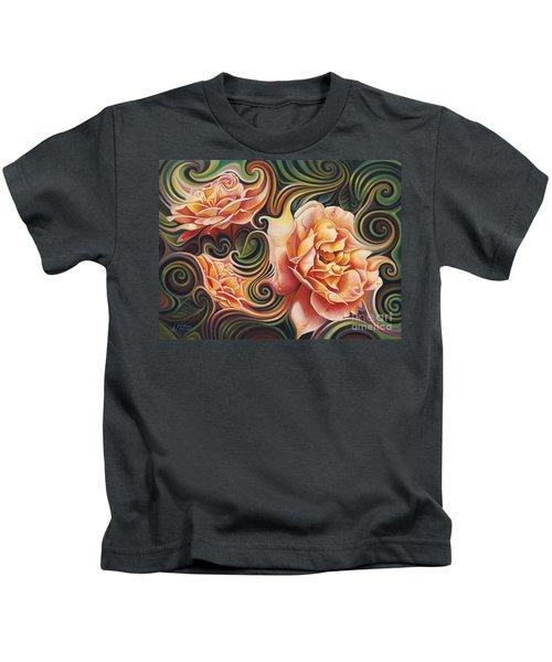Dynamic Floral V  Roses Kids T-Shirt