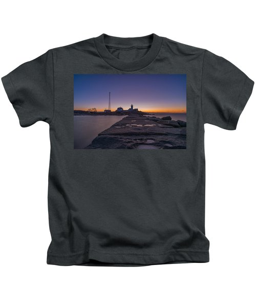 Eastern Point Lighthouse Just Before Sunrise Gloucester Ma Kids T-Shirt