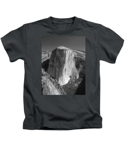 106663-el Capitan From Higher Cathedral Spire, Bw Kids T-Shirt