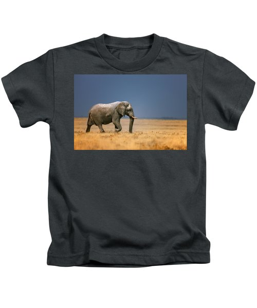 Elephant In Grassfield Kids T-Shirt