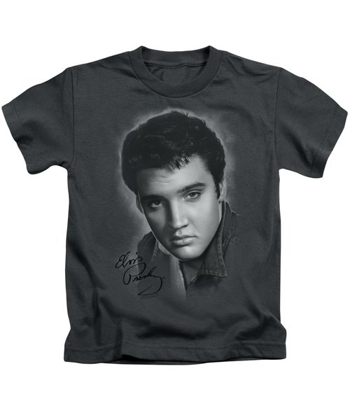 Elvis - Grey Portrait Kids T-Shirt