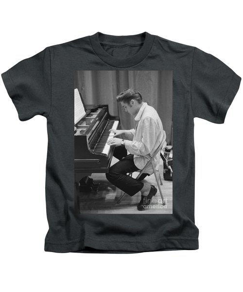Elvis Presley On Piano While Waiting For A Show To Start 1956 Kids T-Shirt