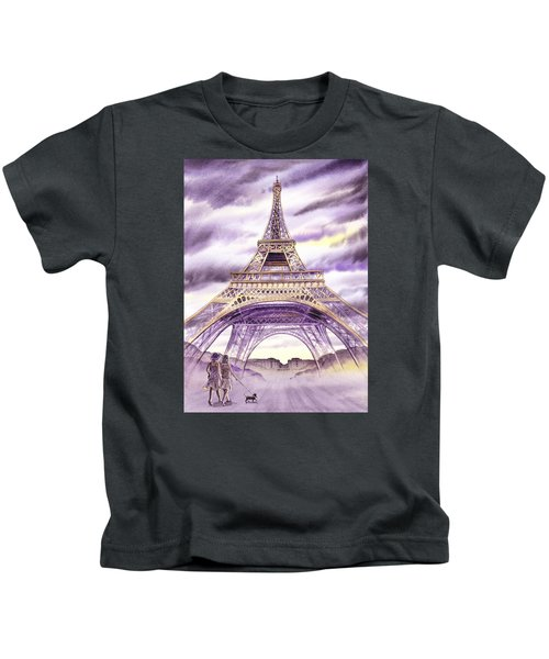 Evening In Paris A Walk To The Eiffel Tower Kids T-Shirt