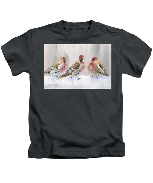 Snowy Birds - Eyeing The Feeder 2 Alaskan Redpolls In Winter Scene Kids T-Shirt