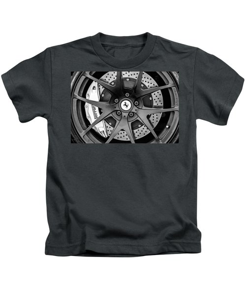 Kids T-Shirt featuring the photograph Ferrari Wheel Emblem - Brake Emblem -0430bw by Jill Reger