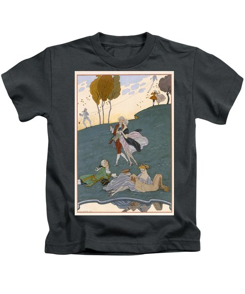 Fetes Galantes Kids T-Shirt by Georges Barbier