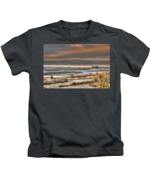 Fiery Sky Over The Salish Sea Kids T-Shirt