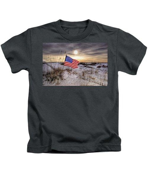 Flag On The Beach Kids T-Shirt