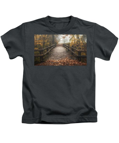 Foggy Lake Park Footbridge Kids T-Shirt