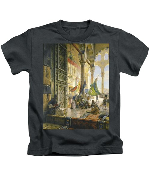 Forecourt Of The Ummayad Mosque, Damascus, 1890 Oil On Panel Kids T-Shirt