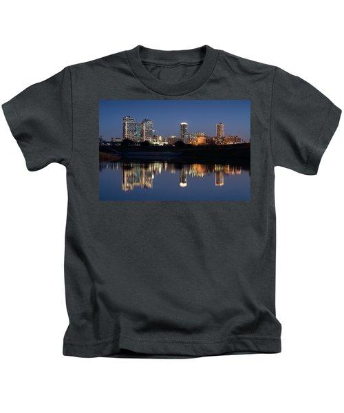 Fort Worth Skyline 020915 Kids T-Shirt