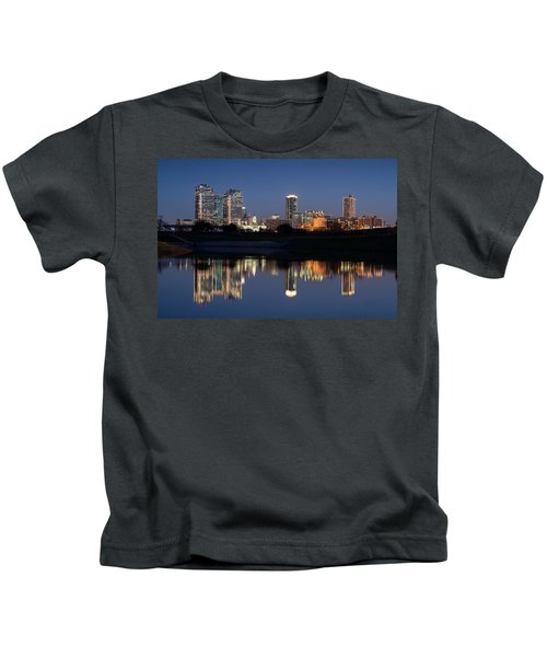 Fort Worth Skyline 020915 Kids T-Shirt
