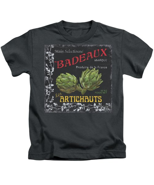 French Veggie Labels 1 Kids T-Shirt by Debbie DeWitt