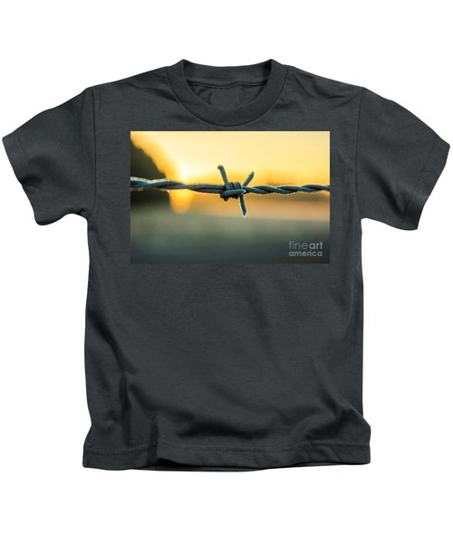 Frost On Barbed Wire At Sunrise Kids T-Shirt