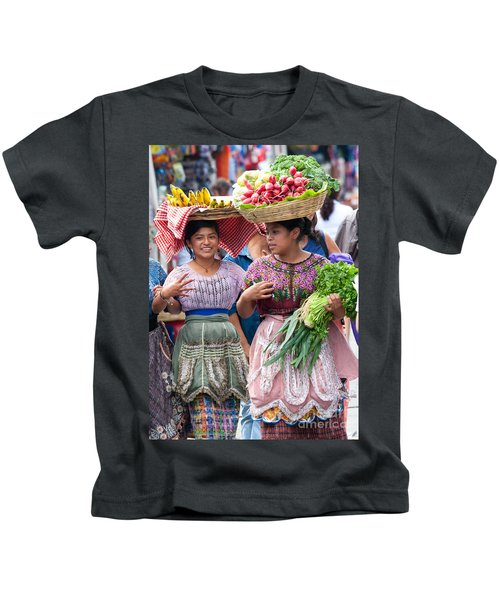 Fruit Sellers In Antigua Guatemala Kids T-Shirt by David Smith