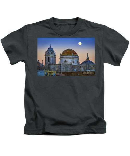 Full Moon Rising Over The Cathedral Cadiz Spain Kids T-Shirt