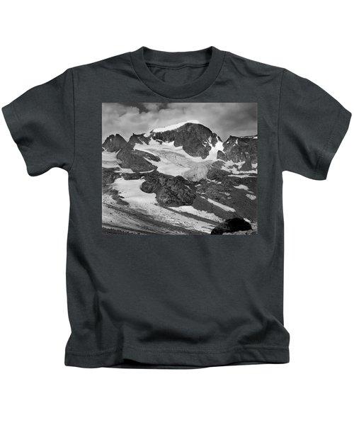 509427-bw-gannett Peak And Gooseneck Glacier, Wind Rivers Kids T-Shirt