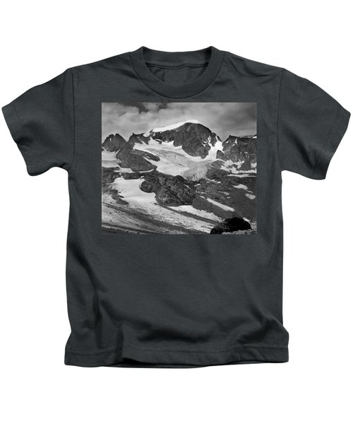 509427-bw-gannett Peak And Gooseneck Glacier, Wind Rivers Kids T-Shirt