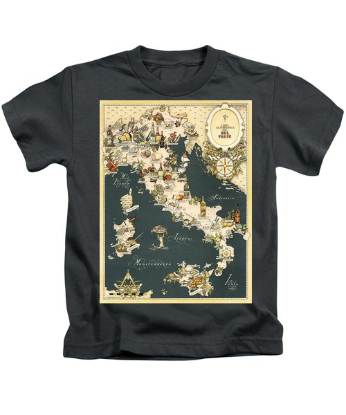Gastronomic Map Of Italy 1949 Kids T-Shirt
