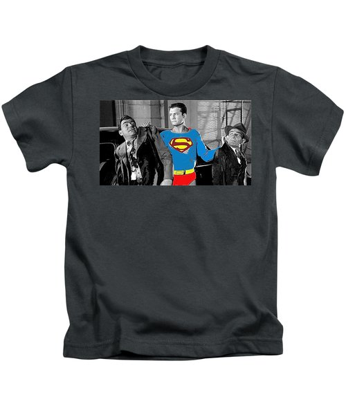 George Reeves As Superman In His 1950's Tv Show Apprehending Two Bad Guys 1953-2010 Kids T-Shirt