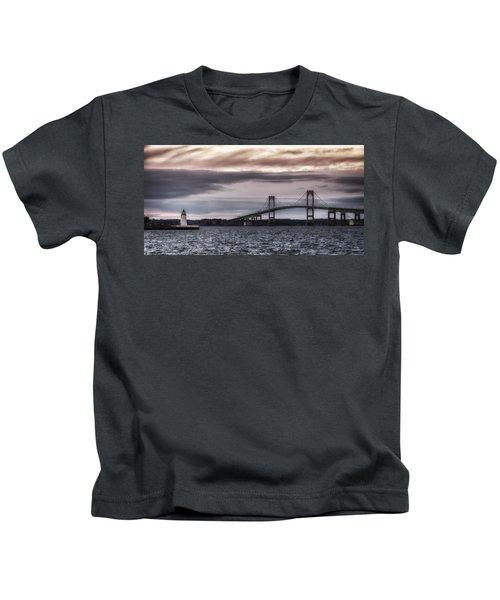 Goat Island Lighthouse And Newport Bridge Kids T-Shirt
