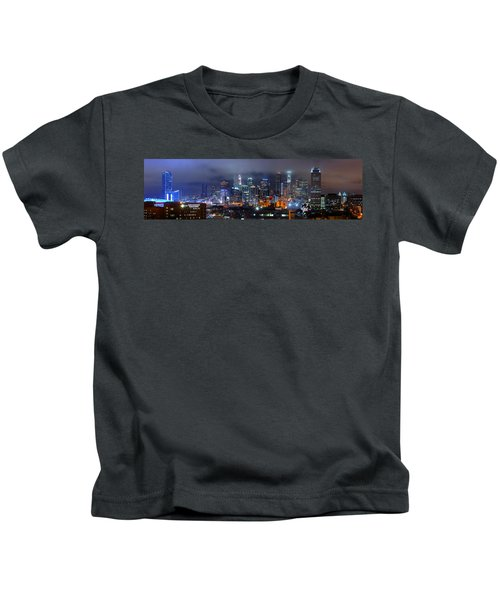 Gotham City - Los Angeles Skyline Downtown At Night Kids T-Shirt by Jon Holiday