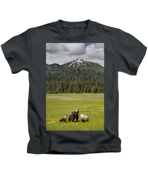 Grizzly Bear Mother And Cubs In Meadow Kids T-Shirt