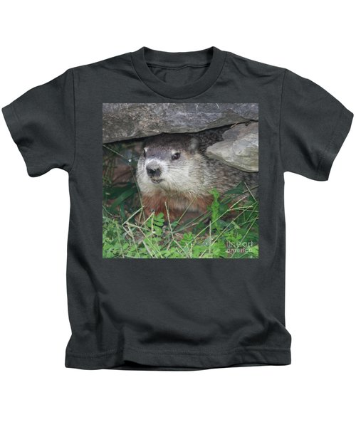Groundhog Hiding In His Cave Kids T-Shirt
