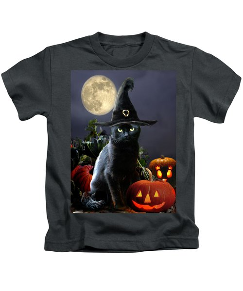 Witchy Black Halloween Cat Kids T-Shirt