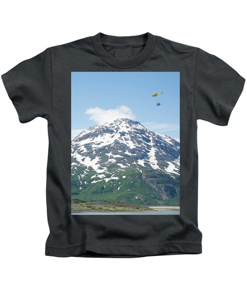 Helicopter Flying A Load Of Rafting Kids T-Shirt