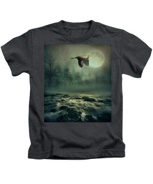 Heron By Moonlight Kids T-Shirt