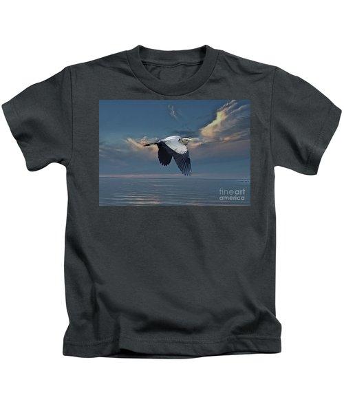 Heron Night Flight  Kids T-Shirt