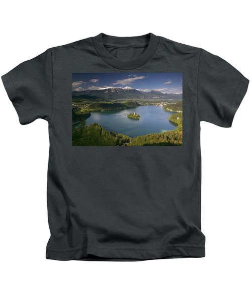 High Angle View Of A Lake, Lake Bled Kids T-Shirt
