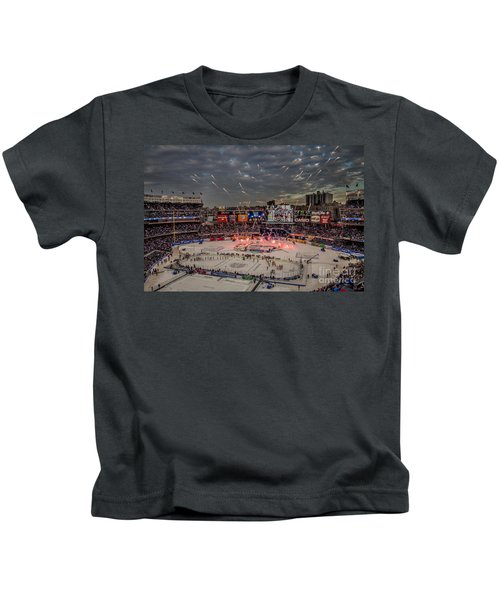 Hockey At Yankee Stadium Kids T-Shirt by David Rucker