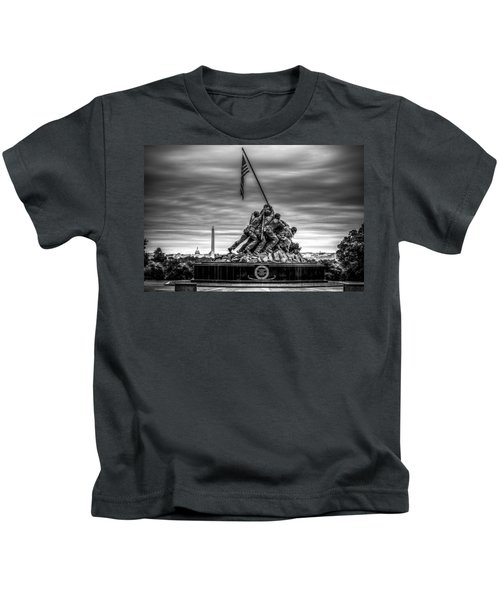 Iwo Jima Monument Black And White Kids T-Shirt