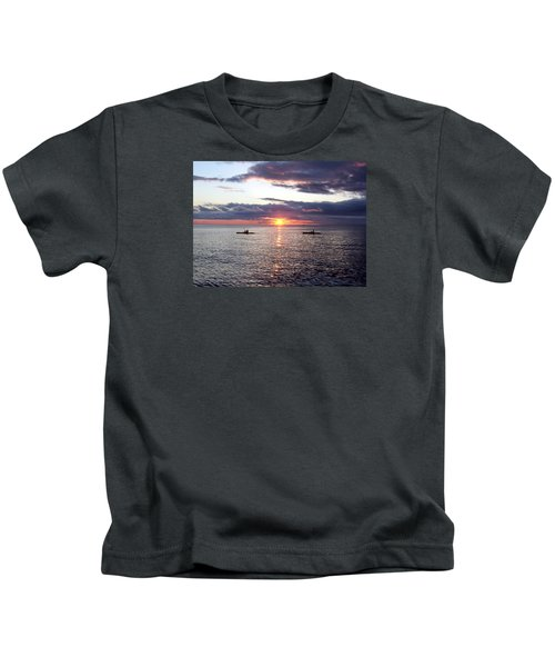 Kayaks At Sunset Kids T-Shirt